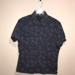 A blue tear drop designed button down shirt!!
